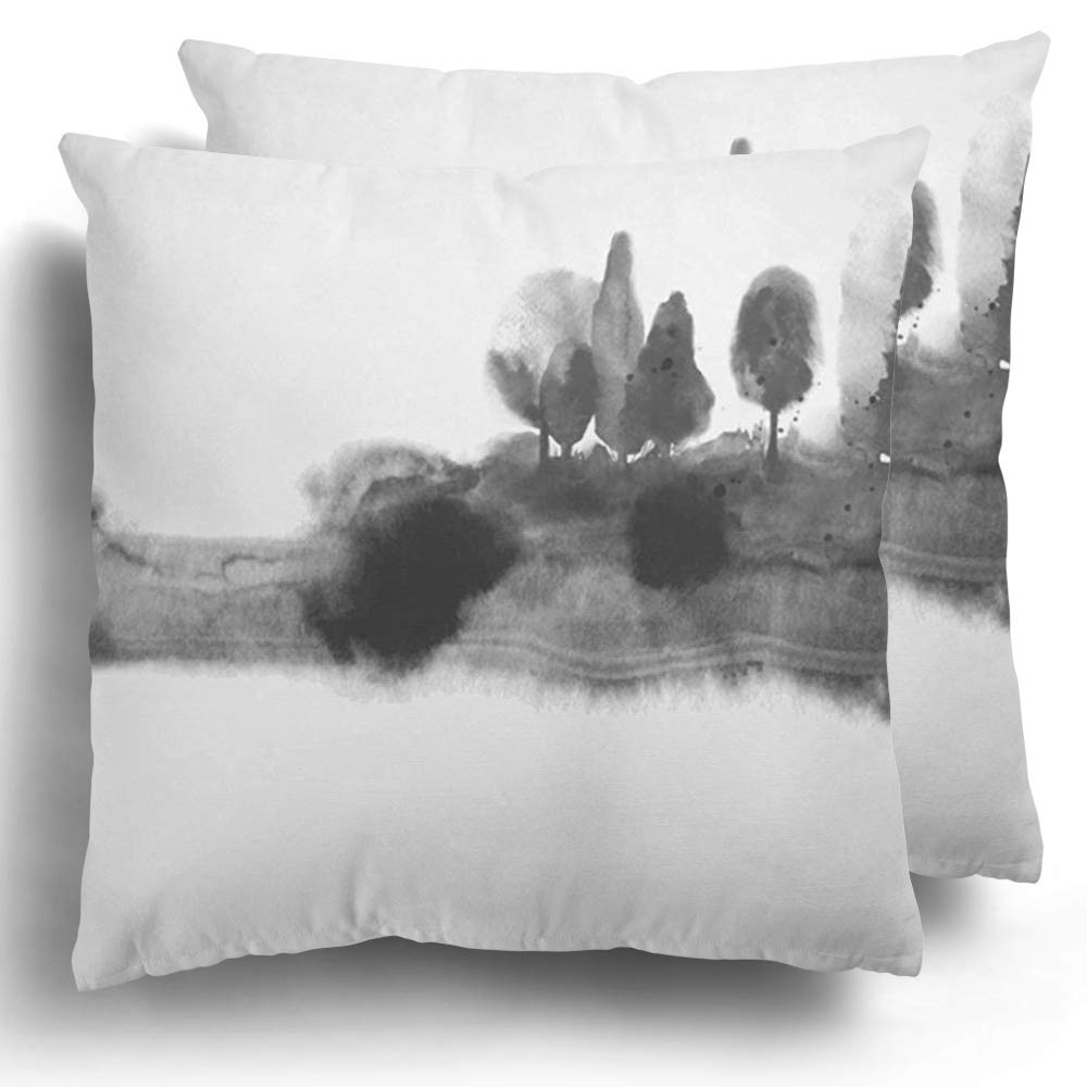 Throw Pillow Covers Pack of 2 Polyester Black Ink Wash Painting Misty Forest Trees on Traditional Oriental Sumi E U Sin Go Hua Hieroglyph Eternity Cushion Case Couch Home Decorative 20 x 20 Inches