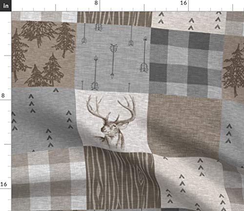 - Spoonflower Log Cabin Fabric - Deer Hunting Patchwork Pine Trees Squares Woodland Nature Print on Fabric by The Yard - Fleece for Sewing Blankets Loungewear and No-Sew Projects