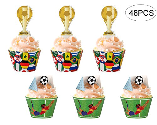 jollylife 2018 World Cupcake Toppers Wrappers Russia- Soccer Game Cake Party Supplies Decorations