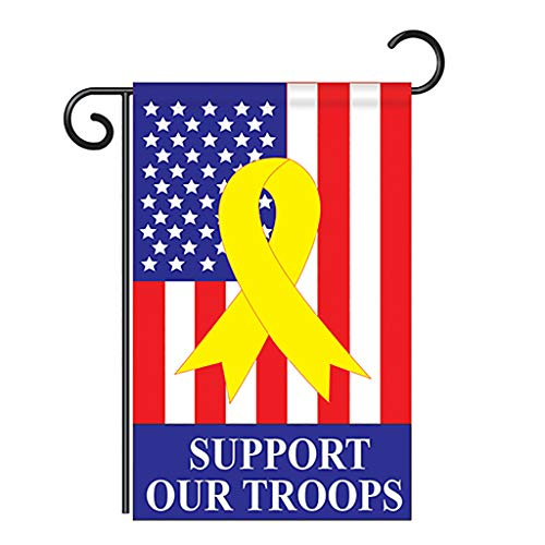 Breeze Decor Two Group G161042-P2 Support Our Troops Americana Patriotic Applique Decorative Vertical 13