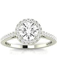 2.4 Cttw 14K White Gold Round Cut Classic Halo Style Pave Set Round Shape Diamond Engagement Ring with a 2 Carat J-K Color SI2-I1 Clarity Center