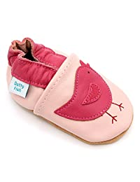 Dotty Fish Baby Girls Soft Leather Shoe with Suede Soles