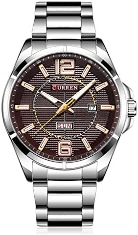 CUEEEN Men Unique Design Stainless Steel Analog Watches with Calendar Date Business Wristwatches