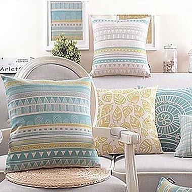 【Bailand】Set of 4 Geometric Modern Cushion cover,Sofa cushion Car Office Pillowcase,Beige Cotton Blend Linen Decorative Pillow Cover 18X18 Inch (45X45CM)