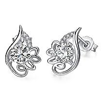 Love Stud Earrings, Wonvin Women Cubic Zirconia 925 Sterling Silver Stud Earrings