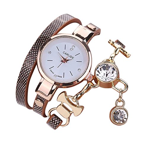 HunYUN Winding Bracelet Metal Decorative Circle Fashion Women's Ladies Faux Leather Rhinestone Analog Quartz Dress Wrist Watches Customized - Link Quartz Circle