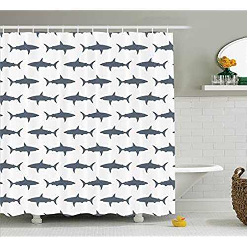 Fish Shower Curtain Set Sea Animals Decor By Ambesonne, Sharks Swimming  Horizontal Silhouettes Traveler Powerful Danger Design Pattern, Bathroom  Accessories ...