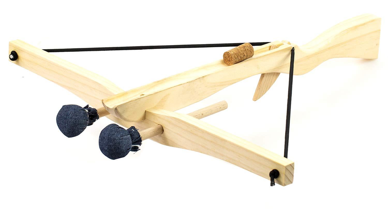 Nick and Ben Spielzeug-Armbrust Holz-Armbrust 50cm Kinder-Waffe Fernkampf Natur mit Gummispann 50cm inkl. 2 Pfeile Bolzen 1 Korken Munition