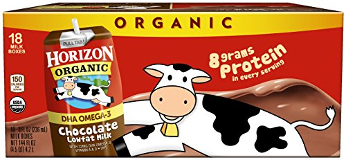Horizon Organic Low Fat Organic Milk Box Plus DHA Omega-3, Chocolate, 8 Ounce (Pack of 18)