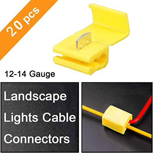 High Connectors Voltage Cable - Shangyuan Landscape Light Cable Connector, Direct Low Voltage Wire Connectors for Malibu Landscape Lighting, 12-14 Gauge T Cable Splice for Outdoor Led Parts In-Ground Step Path Lights (Pack of 20)