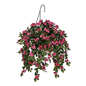 House of Silk Flowers Artificial Mini Pink Bougainvillea Hanging Basket 71