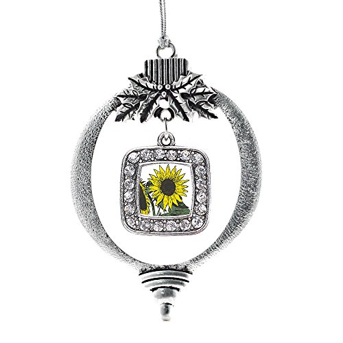 Inspired Silver - Sunflower Charm Ornament - Silver Square Charm Holiday Ornaments with Cubic Zirconia Jewelry