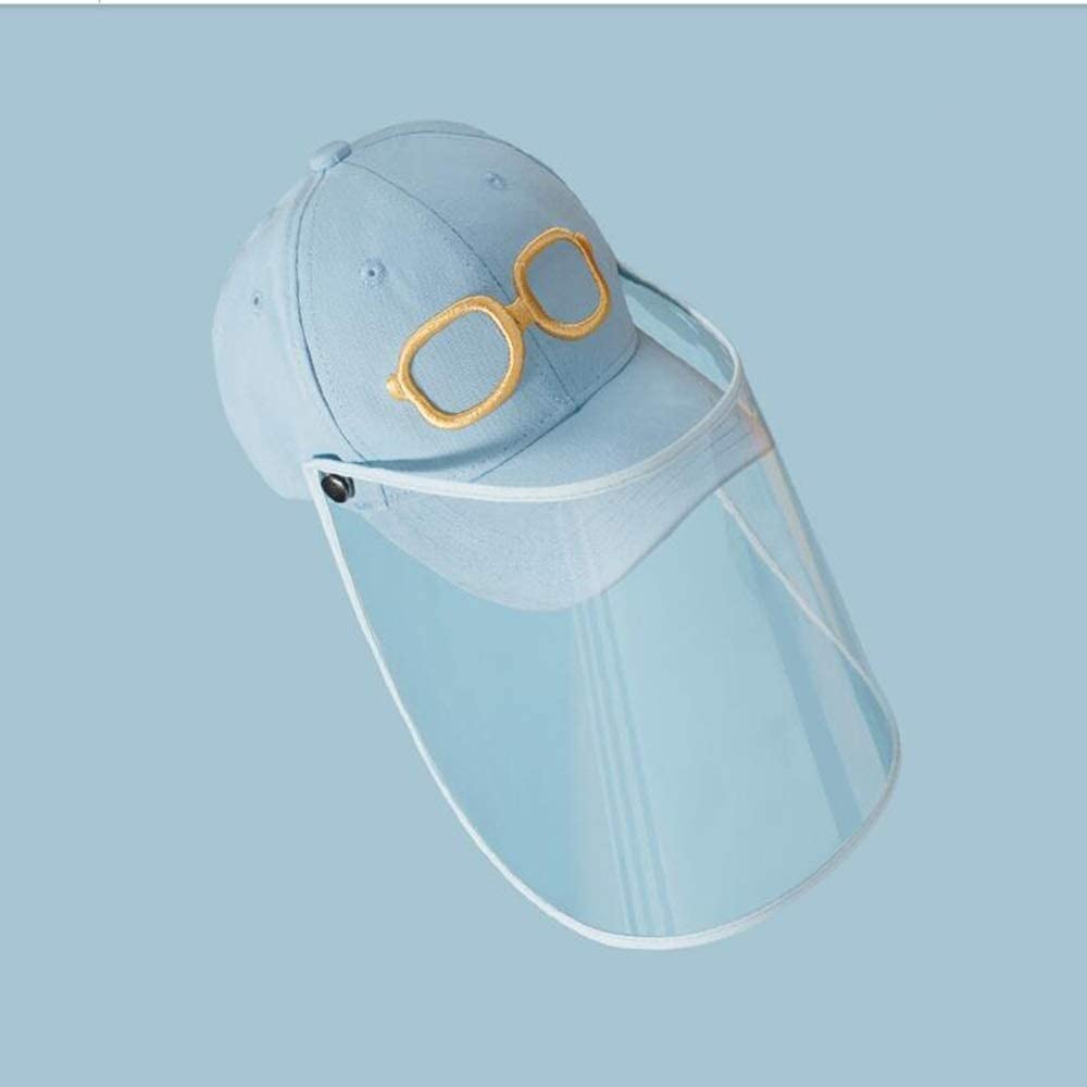 OUPAI Safety Face Hat Kids Sun Hat with Face Shield Detachable UV Clear Visor Wide Brim Bucket Cap for for Kids Children Anti Drool Splash-Proof Outdoor Fisherman Hat for 5-12 Years old