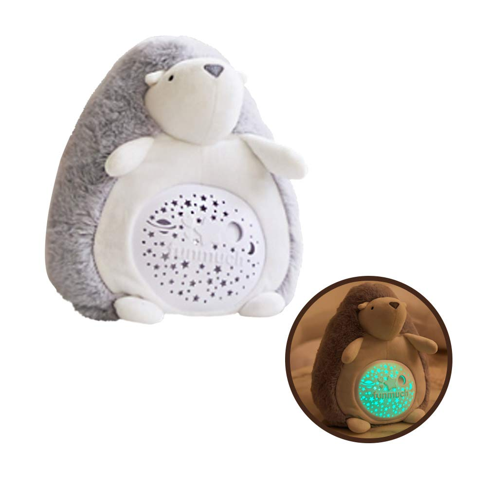 funmuch Baby Soother Hedgehog Plush Infant Toy with 60 Soothing Sounds Starlight Nightlight Toy - Soft Plush Animal, Soft Musical Lullabies, Color Changing, Battery Operated, Gray by funmuch