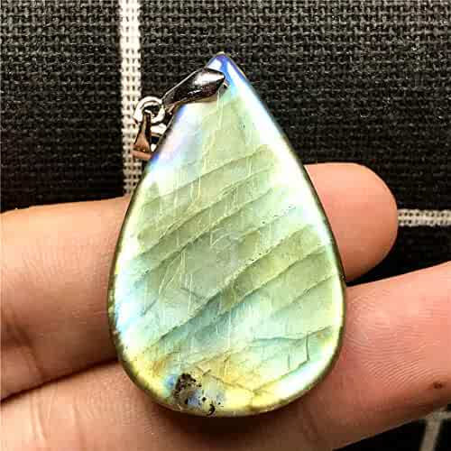 DUOVEKT Natural Labradorite Necklace Pendant for Woman Man 29x24x6mm Yellow Light Crystal Silver Gemstone Jewelry