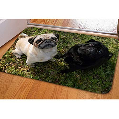 Dellukee Indoor Outdoor Doormats Cute Brown and Black Pugs Printed Non Slip Durable Washable Funny Home Decorative Door Mats Bath Rugs for Entrance Bedroom Bathroom Kitchen, 23 x 16 Inches ()