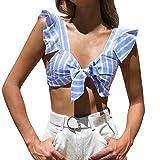 iLUGU Women Striped Sleeveless Knitting Bowknot Tank Vest Top Blouse T Shirt Tee Square Neck Cami Blue