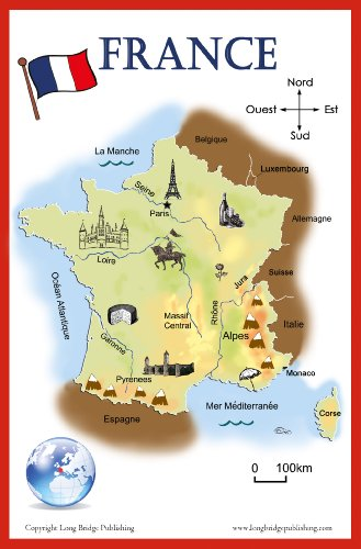 Map Of Spain For Classroom.Amazon Com French Language School Poster Simplified Map Of France