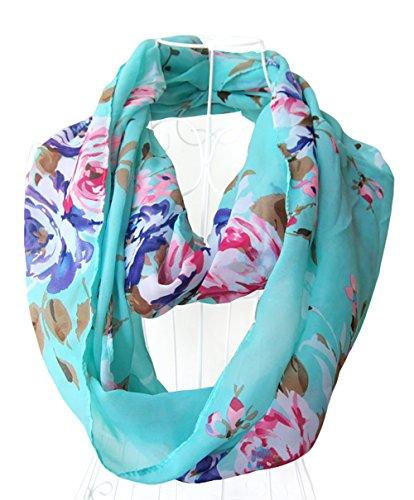 Spikerking Women's Spring pretty pattern Geometry Print Chiffon Infinity Scarf Multi Colors,Lake blue (Pretty Spring)