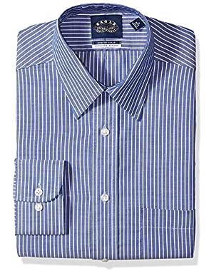 Men's Non Iron Stretch Point Collar Regular Fit Stripe Dress Shirt,