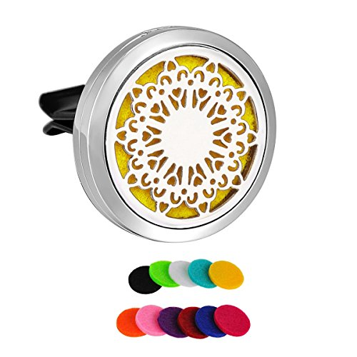 HooAMI Car Air Freshener Aromatherapy Essential Oil Diffuser - Birthday Monkey 316L Surgical Stainless Steel Locket with Vent Clip