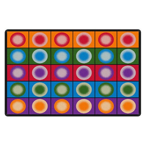 "Flagship Carpets FE118-32A Dot Spots Seating Rug, Everyone Has a Spot on This Colorful Design, 5'10"" x 8'4"" Seats 20, 70"" Length, 100"" Width, Multi-Color"