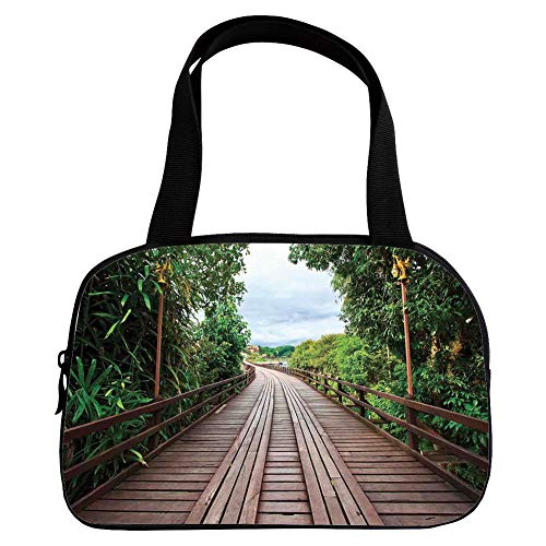 iPrint Vogue Small Handbag Pink,Landscape,Wooden Bridge Between Exotic Trees Jungle Freshening Relax Road Nature Image,Brown Green,for Girls,Diversified Design.6.3
