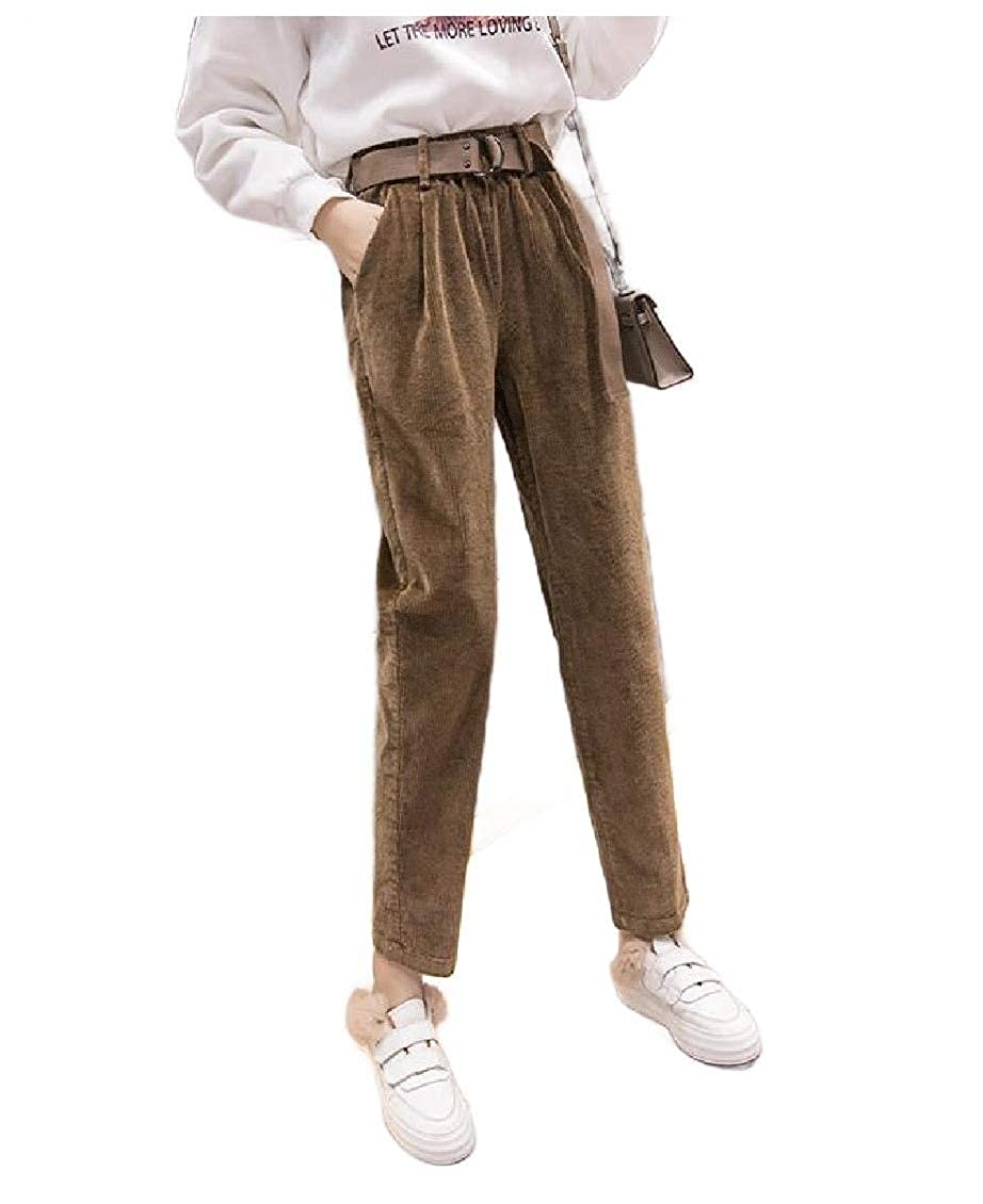 Doufine Womens Wild Corduroy High-Waisted Fall Winter Loose Harem Pants