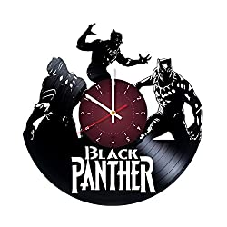 BLACK PANTHER Vinyl Record Wall Clock - room wall decor - Art Gift Modern Home Record Vintage Decoration Gift For Him and Her - gift for fan gifts for boys man girls women you prime birthday