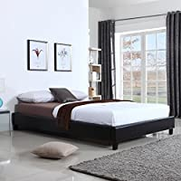 US Pride Furniture Hadwen Black Faux Leather Full/Queen Bed Queen