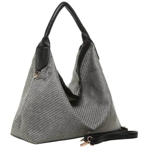 MG Collection KAINDA Large Gray Woven Single Handle Slouchy Hobo Shopper Tote Shoulder Bag, Bags Central