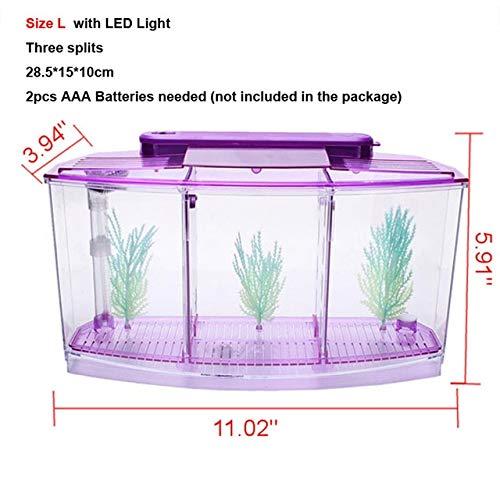 Arcylic Betta Guppy Baby Small Fish Separation Fish Bow Aquarium Breeding Box   Size L Random color, Acrylic Breeding Box