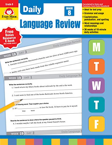 Evan-Moor Daily Language Review Grade 8 Teacher s Edition Supplemental Teaching Resource Book, 36 Weeks of Lessons ()