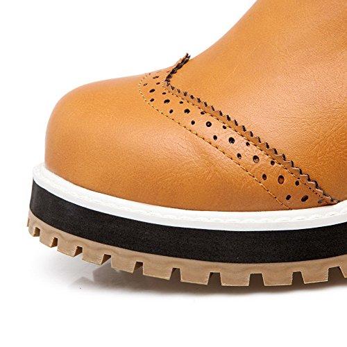 Heels Kitten PU Women's Yellow Solid Round Zipper Toe Boots AgooLar Closed tR6FxEF