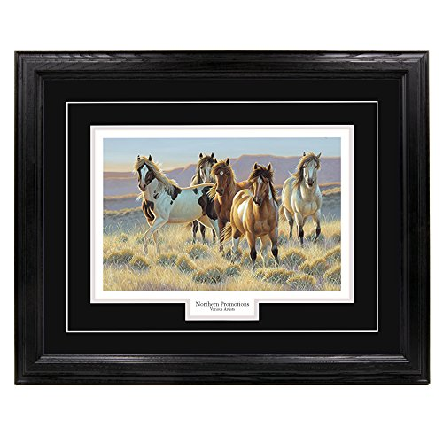 (Northern Promotions, LLC. Young Blood - Cynthie Fisher, Mustang Horses and Western Wall Art Print for Home/Office/Hotel/Cabin/Gift, Framed 26 x 36 in, Black Mat/Black Frame - More Frames Available )