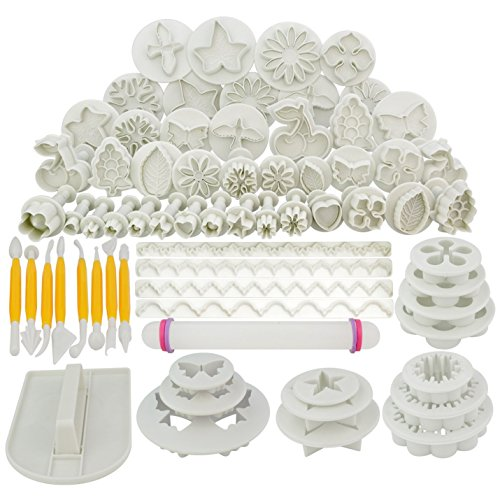 Marrywindix 68pcs 21 Sets Cake Decration Tool Set By Catalina Fondant Cake Cutter Mold Sugarcraft Icing Decorating Flower Modelling Tools (And Supplies Decorating Baking)