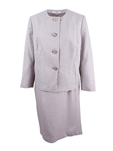 Suit Skirt Brown Tweed (Le Suit Plus Size Beige White Tweed Skirt Suit W)