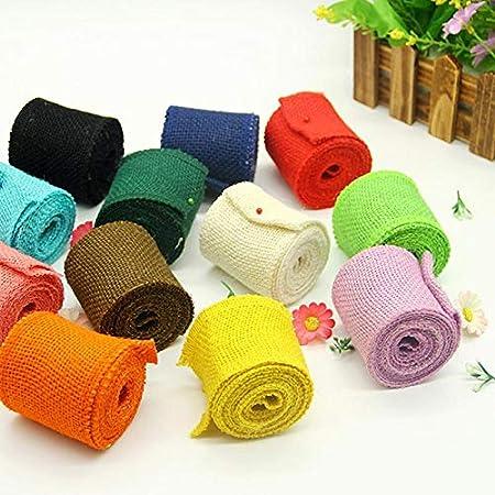 Rollo de cinta de arpillera de lino natural para manualidades Wisilan color marr/ón Light Purple decoraci/ón de ropa