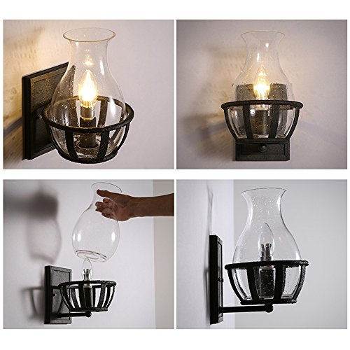 Jinyuze Retro Rustic Wall Sconce Light With Clear Seeded Glass Vase