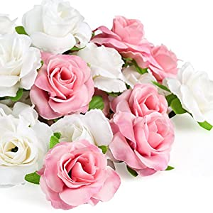 Kesoto 50 Pcs Artificial Rose Flower Head, Pink and White Real Touch Artificial Roses for Wedding Bouquet Decoration Home Decor Party Supplies 93