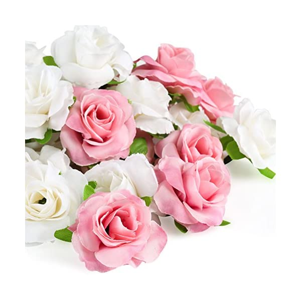 Kesoto 50 Pcs Artificial Rose Flower Head, Pink and White Real Touch Artificial Roses for Wedding Bouquet Decoration Home Decor Party Supplies