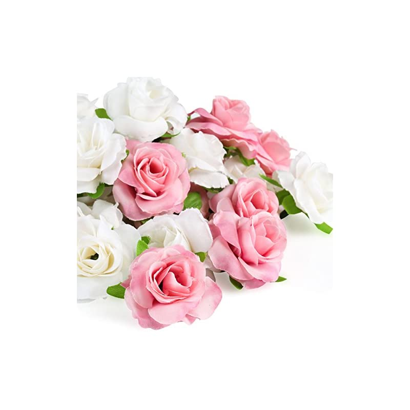 silk flower arrangements kesoto 50 pcs small artificial rose flower head, pink and white real touch artificial roses for wedding bouquet decoration home decor party supplies