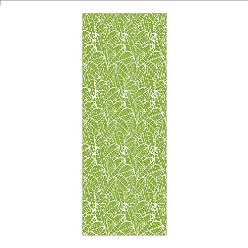 3D Decorative Film Privacy Window Film No Glue,Green,Watercolor Hand Drawn Leaf Pattern with Grungy Vintage Organic Nature Display,Lime Green White,for Home&Office