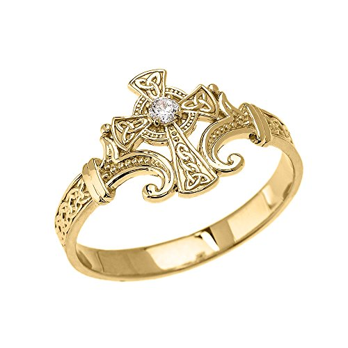 - 10k Yellow Gold Solitaire Cubic Zirconia Celtic Cross with Trinity Knot Design Elegant Ring(Size 8.25)