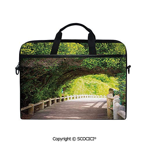 Laptop Sleeve Notebook Bag Case Messenger Shoulder Laptop Bag Nature Boardwalk Through Green Archway Bridge Foliage Trees Sunny Summer Day with Handle and Extra Side Pockets