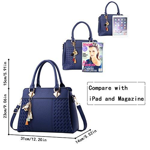 Bolsas de PU Magic Bolsos la asa con Bolso de de Azul para Mujer Bolsas Superior Totes Zone Cuero Mujeres xCgqCf