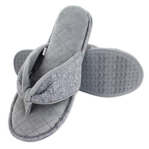Magtoe Women's Velvet Lining Cozy Memory Foam Spa Thong Indoor Slippers (9-10,Grey)