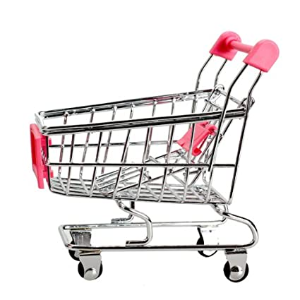 Amazon.com: Whitelotous Mini Supermarket Handcart Shopping Utility Cart Mode Storage Pink Gift: Office Products