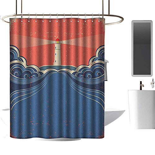 Qenuan Vintage Shower Curtain Lighthouse,Grungy Style Lighthouse Art Print Beam Waves Sea Swirls Nautical Theme, Blue Coral White,Durable Waterproof Fabric Bathroom Curtain 36