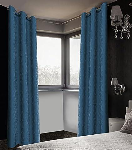 Safdie & Co. Curtain Panel Brocade Blackout 84L Denim 2 Pcs Set, 2 Piece - Co Black Denim